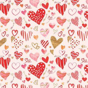 Romantikus csomagolópapír tekercs piros szívekkel