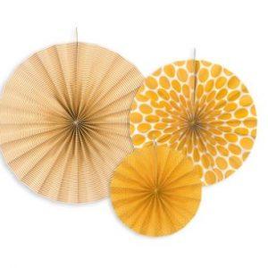 Sárga dekorációs rozetták 3 db