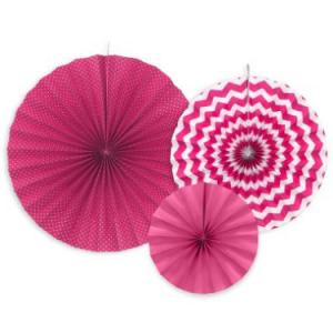 Pink dekorációs rozetták 3 db